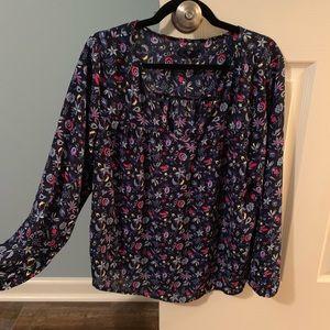 GAP blue floral blouse
